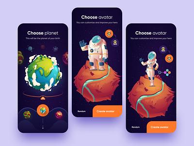 Custom profile space planet custom procreate settings app icon user inteface ux clean dailyui vector illustration concept design