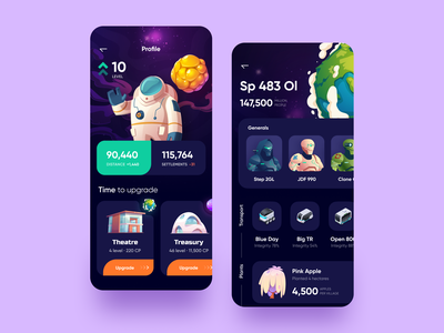Game Center profile page level planet game profile typography illustration vector user inteface uxdesign flat ux concept ui design