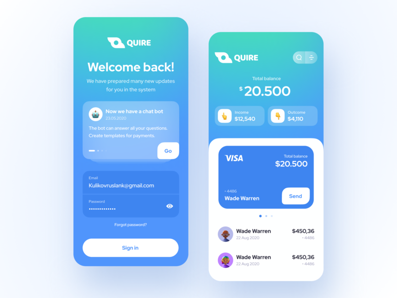 Quire Wallet news balance transaction bank card bank wallet flat app icon logo vector user inteface uxdesign concept dailyui clean ui design