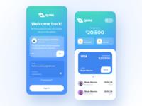 Quire Wallet news balance transaction bank card bank wallet flat app icon logo vector user inteface uxdesign concept dailyui clean ui design