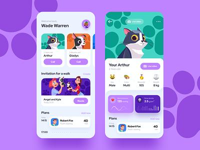 Pet app pets dog cat calendar plan walk illustration animal pet profile app user inteface uxdesign flat ux concept dailyui clean ui design