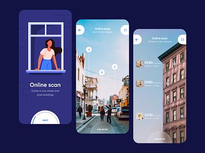 Apartments app profile design ar filters street ar app scan booking rent profile user inteface ux concept dailyui clean ui design