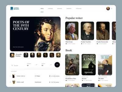 Country Books poets popular books book search profile writer branding user inteface web uxdesign website concept dailyui clean ui design