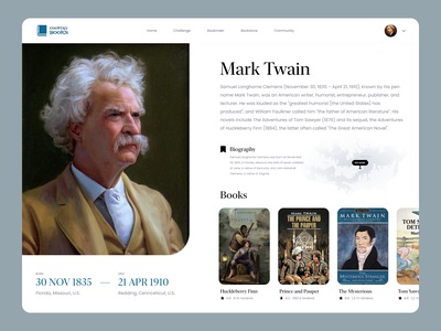Country Books web design country books book map biography writer profile user inteface web uxdesign website concept dailyui clean ui design