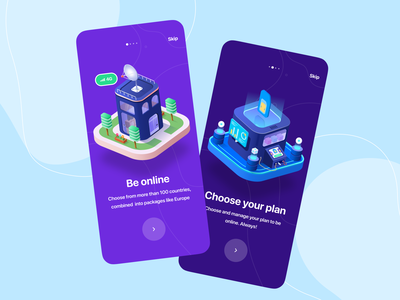 eSIM onboarding app ui design concept dailyui design art isometric 3d flat illustration sign in sign up login sign connect esim ui onboarding ui onboarding
