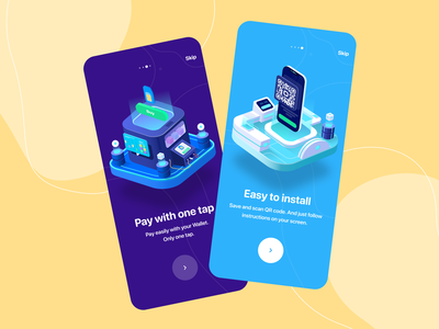 eSIM onboarding online esim profile login sign isometric app vector user inteface onboarding illustration ux concept dailyui clean ui design
