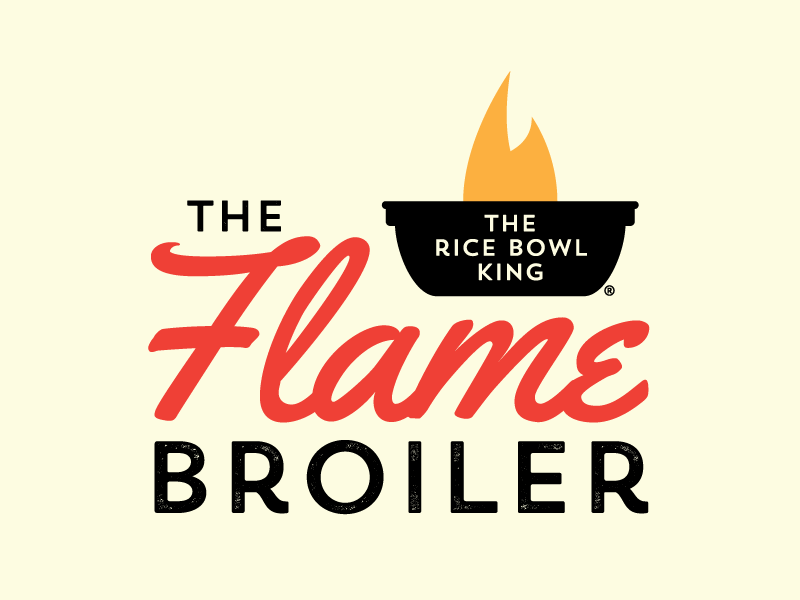 The Flame Broiler bowl flame identity rebrand logo