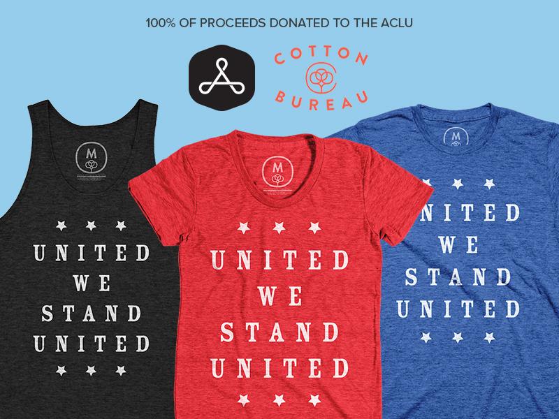 United We Stand United! united resist typography tri-blend black blue red cotton bureau tee t-shirt