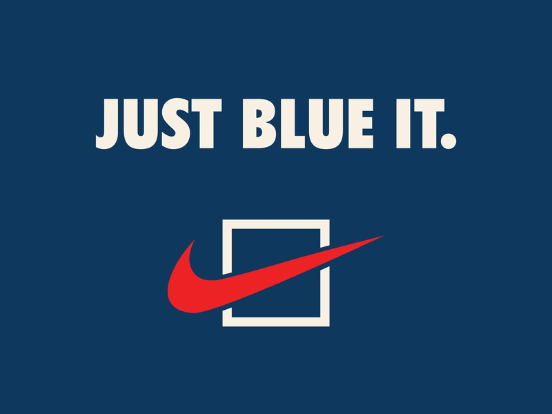 Just Blue It. america vote swoosh nike white blue navy red