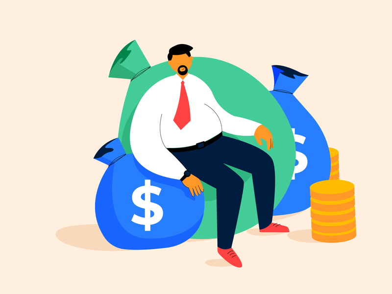 Explainer video illustration marketing cash sitting work office character character design abstract money illustration grow savings fat guy finance manager coins finance wealth