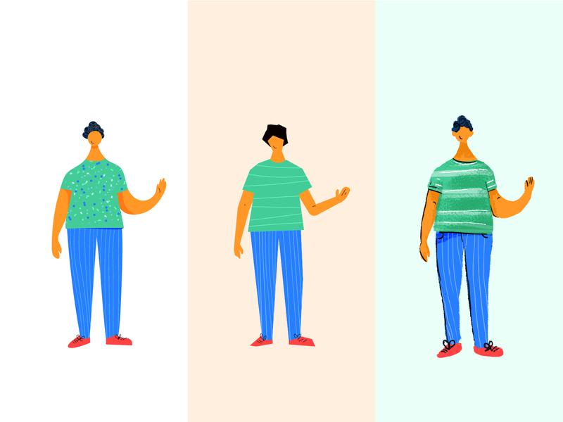 Hand-drawn Illustrations person procreate wacom hand drawn character art happy person grains illustration flat 2d waving teenager boy man style style fixing character character design