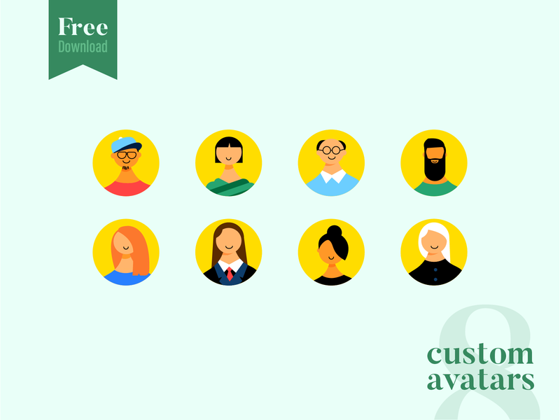 8 Custom Avatars Free Download icons set pack colorful download avatar free illustrations illustration pack colourful freebies freebie face faces avatars vector avatar free download download free download