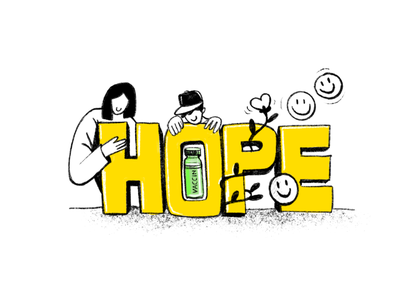 Hope triumphs doubt hope 2021 covid-19 vaccine covid-19 covid characters app branding icons business illustration ux website netbramha design ui