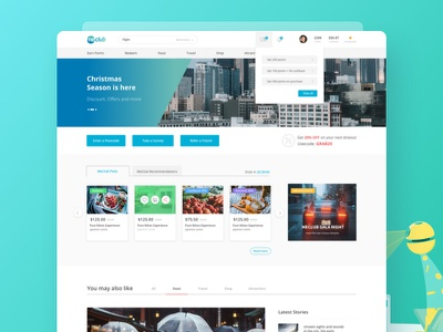 MeClub loyalty singapore website flat design icons ui animation characters