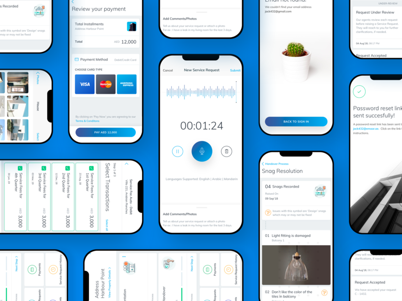 Emaar - Voice Note & App Screens icons voice assistant voice search interface screen housing property realestate app design app mobile ui mobile userexperience userinterface branding business ux netbramha design ui