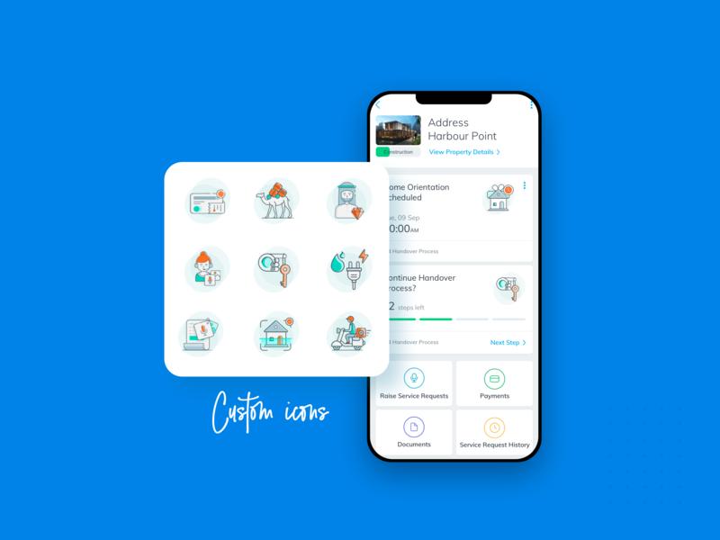 Emaar - Custom Icons icon mobile design mobile ui app ui realestate appdesign app icon app user experience property userinterface logo branding characters business icons illustration netbramha design ui