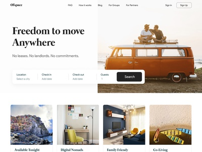 Freedom to move anywhere ofspace academy 2021 trend dribbble 2021 dribbble ofspace agency ofspace real estate design realestate real estate branding real estate agency real estate agent airbnb clone script airbnb real estate logo real estate