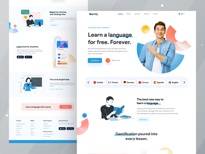 eLearning Home page I Ofspace branding web design website design bright color figma user experience design inspiration brandmark uitrend ofspace learning app language learning uiux uiux design visual design learning platform education app edutech