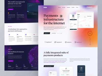 Stripe I Visual Redesign I Ofspace ofspace ui ux user interface design user experience trendy design website design landing page redesign web design payment app payment finance app finance fintech branding fintech app fintech stripe