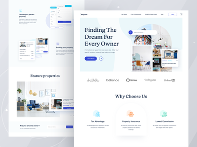 Real Estate Home page I Ofspace interaction design marketing page landing page design agency website real estate branding 2021 trend trend ofspace user experience home buying property marketing real estate logo typography logo branding website design visual design landing page real estate