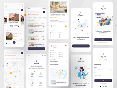 Minimo Real Estate App I Ofspace user interface design user experience application design ofspace interaction design illustration trendy design property marketing home buying property mobile app mobile branding brandidentity real estate agency real estate logo realestate minimo