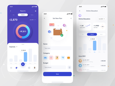 Cost management app I Ofspace colorful design fintech logo fintech app budget app budget illustration reports and data money app cost management cost money management money