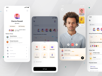 Group Study App I Ofspace online course minimalistic group study learning platform learning app student app education website app ios app educational edutech app edutech online study education app education