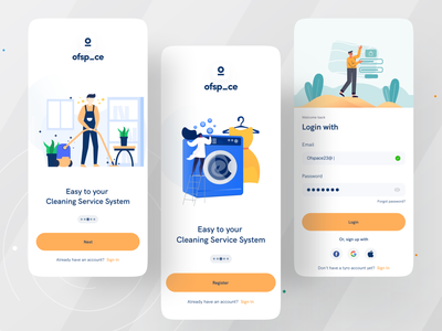 Home Service App I Ofspace colorful logo minimalistic onboarding ui illustration branding repair service cleaning service on demand app home services home service mobile app mobile