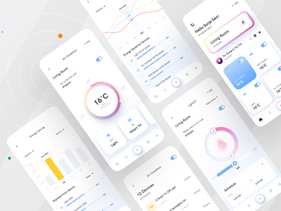 Smart home app I Ofspace clean ui trendy ux design uiux mobile app smart devices light smart home app home automation remote control smarthome smart app