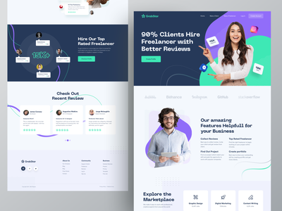 Grabstar | A review rating platform for the Freelancer & Clients uiux design user inteface home page design landing page ux grabstar ofspace trendy dribbble 2021 retro design creative  design ratings platform reviews review web design web typogaphy creative