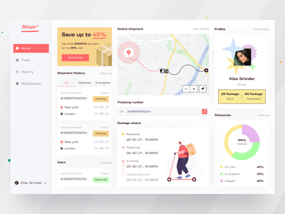 Parcel delivery Dashboard I Ofspace typography illustration dashboard design user experience design ofspace design parcels courier app courier service logistic delivery service parcel tracking parcel transport dashboard ui dashboard