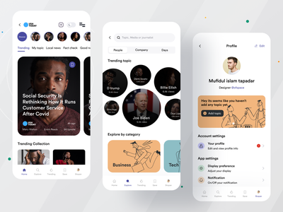 News App I Ofspace branding ux ofspace clean ui card forum trend media magazine latest news news portal news app news application mobile up mobile uiux user interface