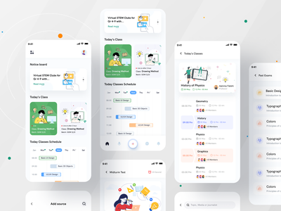 Online Education App I Ofspace online test teaching clean ui modern colourful ui vector illustration learning app student app exam course online education ui education app app ui mobile app mobile app e-learning education