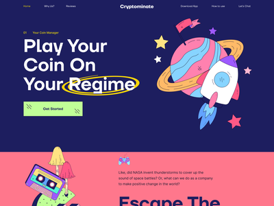 Cryptominate Web Design I Ofspace figma design ui webdesign vector landing page colorful web design website web nft eth fintech financial finance banking mining bitcoin coin cryptocoin crypto