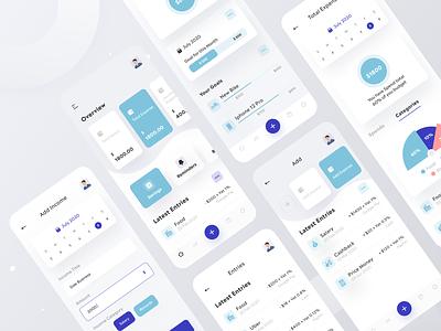 Flux - Expense Management UI Kit app ios app financial app finance app dashbaord charts stats money management mobile app mobile finacne money expense