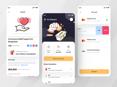 Crowdfunding App I Ofspace ui design user interface ux social app design inspiration interaction design modern ui design application ios app mobile app mobile crowdfunding fund raise funding
