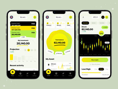 Cryptocurrency Wallet App I Ofspace ux design ux 2022 trend trendy design modern ui financial fin-tech fintech wallet app coin app bitcoin cryptocurrency crypto wallet wallet crypto mobile app mobile