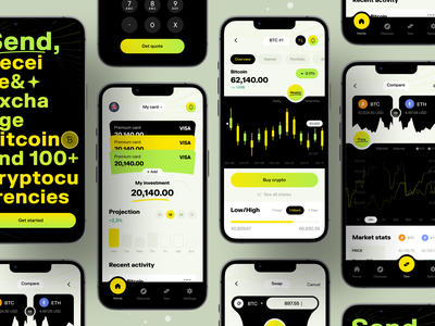 Cryptocurrency Wallet App I Ofspace crypto wallet wallet chart exchange btc application mobile app 2022 trend trendy modern design design ios app fintech app fintech investment bitcoin coin app cryptocurrency crypto ios