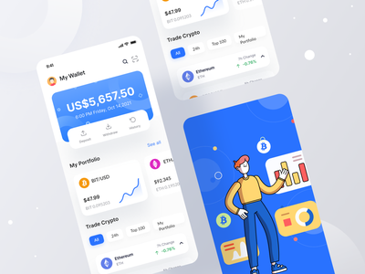 Cryptocurrency App I Ofspace fintech ios app wallet app wallet ios mobile app bitcoins crypto app cryptocurrency crypto ethereum btc mobile ui app ux