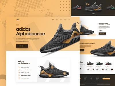 Adidas  Alphabounce - Sneakers Landing page shopping nike e-commerce product landing page product ux payment ui typography design 2018 trends best website 2018 adidas originals trainer landing page shoe sneakers adidas