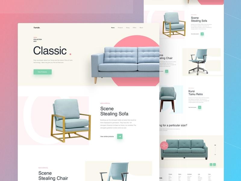 Sofa- Furniture Website Concept colorful redesign furniture website design 2018 sofa