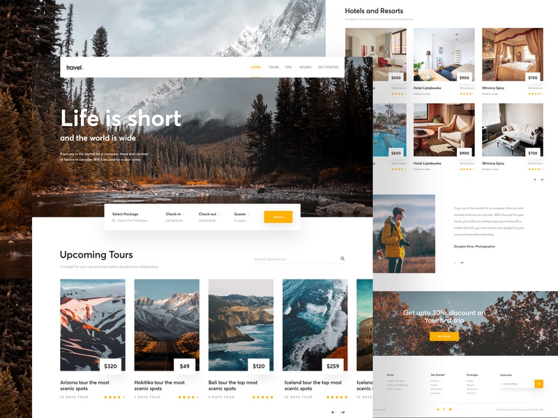 Travel Landing Page Exploration news web travel blog travel agency landing page travel best website 2018 design ux ui 2018 trends