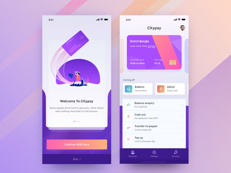 Private Bank App Design bank activity app financial app design agency payment getway credit cards modern app design 2019 app design illustration app design ios app wallet app transection app fintec e wallet banking app