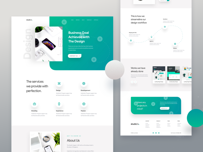 Studio'x - Agency Landing Page Concept product marketing agency landing page website concept luova studio homepage typography ux best website 2018 ui 2018 trends design agency landing page website