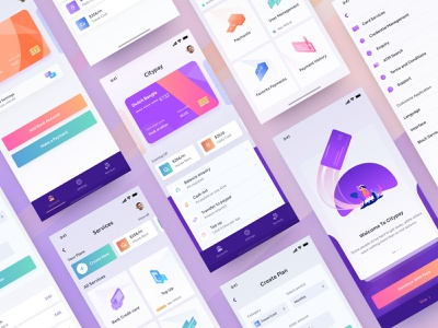 Private Bank App Design blue 2019 app design modern app design banking user app credit cards colorful design app concept branding financial app design crypto wallet wallet app e wallet uxui design ui concept ui design design studio ios app design app design private bank app bank app