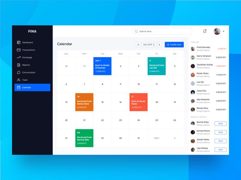 Calendar - Finance Dashboard UI Kit by Luova Studio on Dribbble