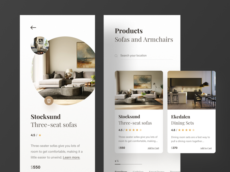 Furniture App product card product ui minimal branding ecard app ecommerce minimal app branding furniture app typography dashboard design ios iphonex ux landing page design ui