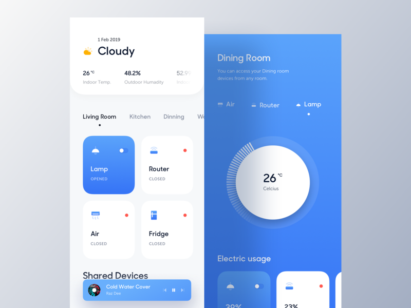 Smart Home ios dailyui design ux luova studio app dark ui dark app clean minimal smart home automotion ui