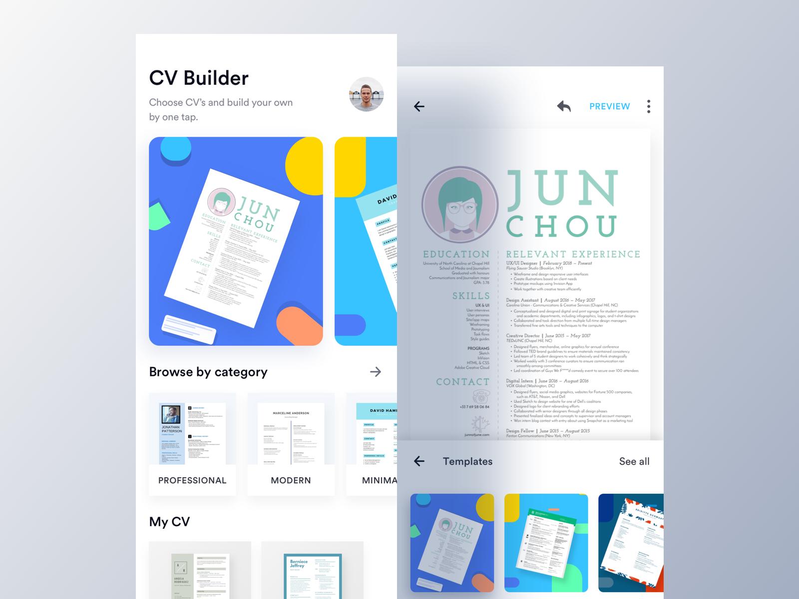 EZY - CV Builder App (Home & Editor) by Luova Studio on Dribbble