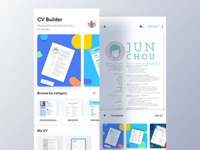EZY - CV Builder App (Home & Editor) cv editor template editor ui design ux luova studio app ios android cv app case study job app apply builder cv maker cv template resume cover letter easy cv maker editor